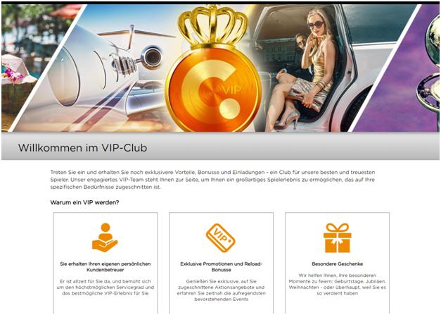 VIP Club bei Casino.com für deutsche Spieler