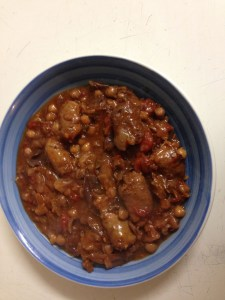 Russian Sausages, red cabbage & chickpea stew