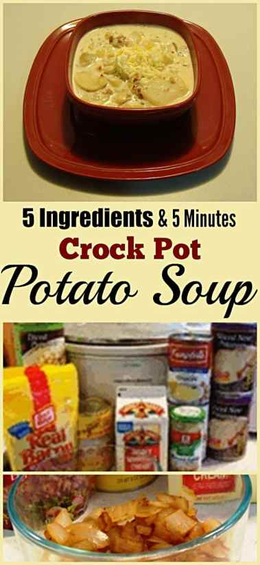 5 Minute 5 Ingredient Crock Pot Potato Soup. Find this and other yummy recipes @ http://www.slowcookerkitchen.com