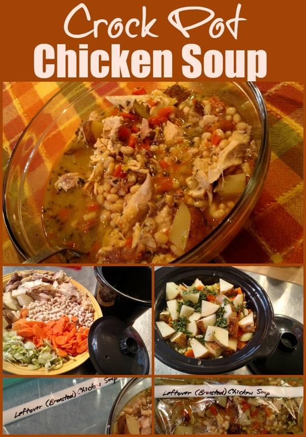 Leftover Crock Pot Chicken Soup. Find more recipes @ https://SlowCookerKitchen.com