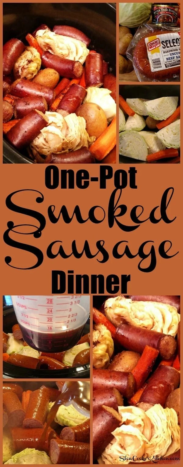 Smoked Sausage Dinner! Find this & more yumminess @ https://www.slowcookerkitchen.com