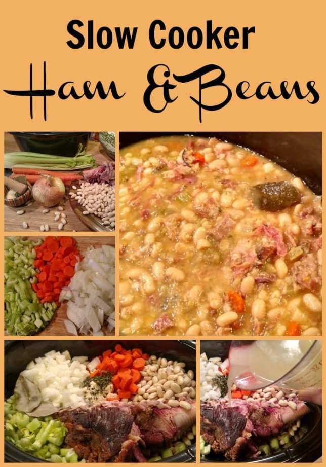 Slow Cooker Ham and Bean Soup Recipe. Find this & more @ https://www.slowcookerkitchen.com