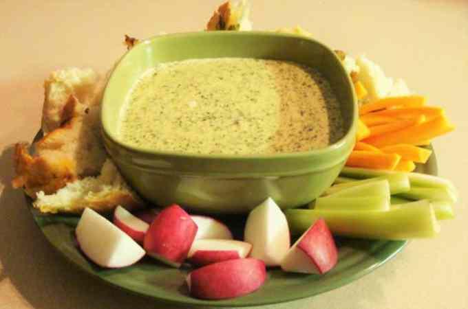 Crockpot Parmesan Garlic Spinach Dip