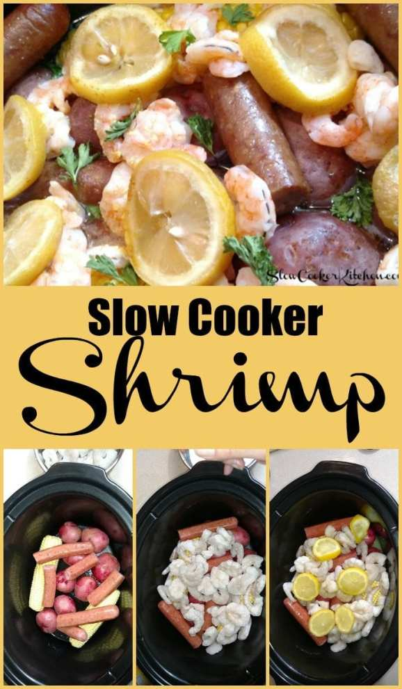 Slow Cooker Shrimp and Sausage Dinner! Find this & more yummies @ http://www.slowcookerkitchen.com