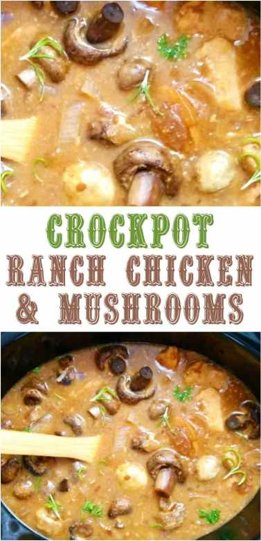 Crockpot Ranch Chicken Mushrooms