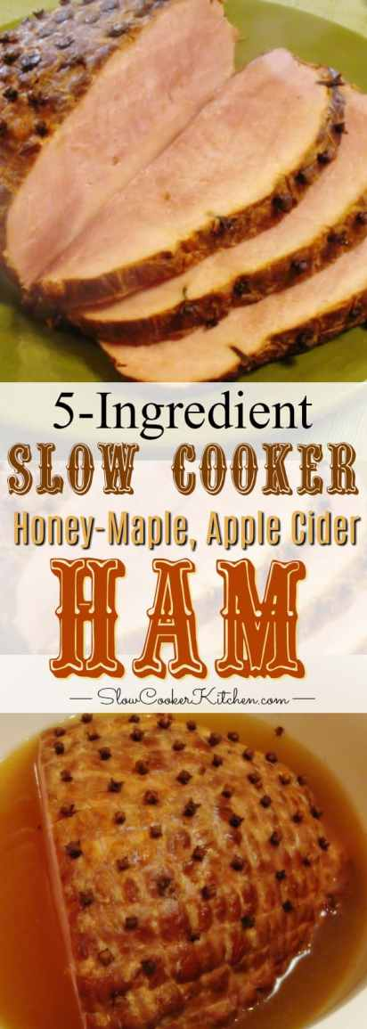 slow cooker ham with 5 ingredients pinterest collage
