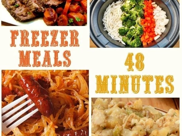 48 Minutes = 40 Crock Pot Freezer Meals/5 Recipes