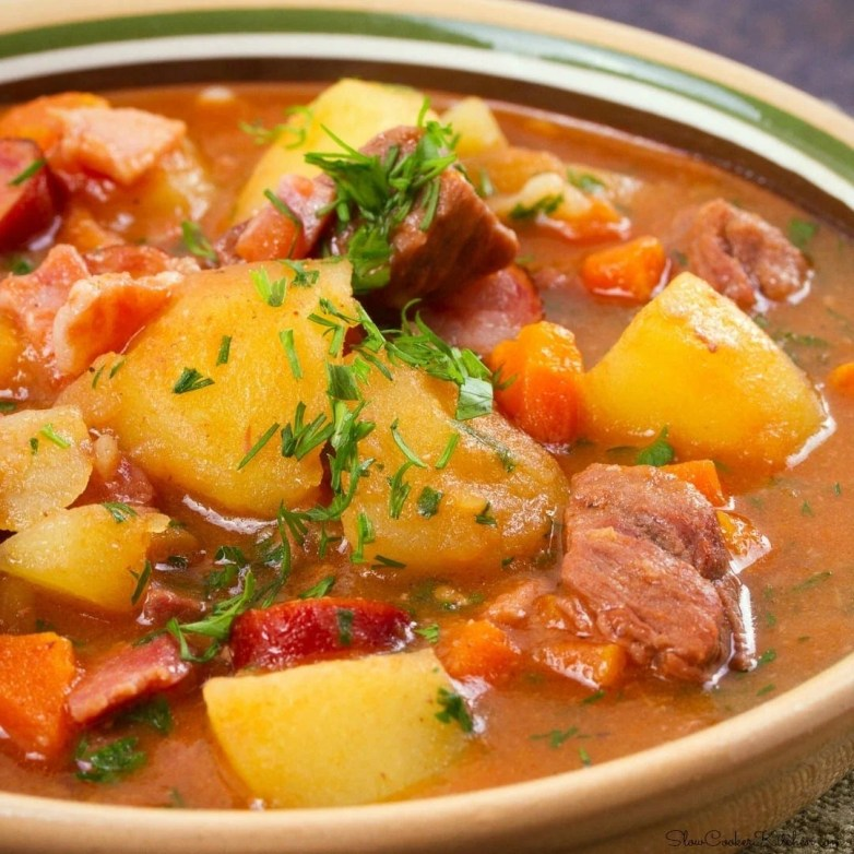 Crock Pot Beef Vegetable Soup with Bacon and Kielbasa!