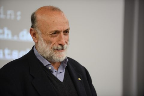 Carlo Petrini giving a speech at the Heinrich Böll Stiftung, Berlin, Germany, 18.1.2014.  Photo by Janne Tervonen