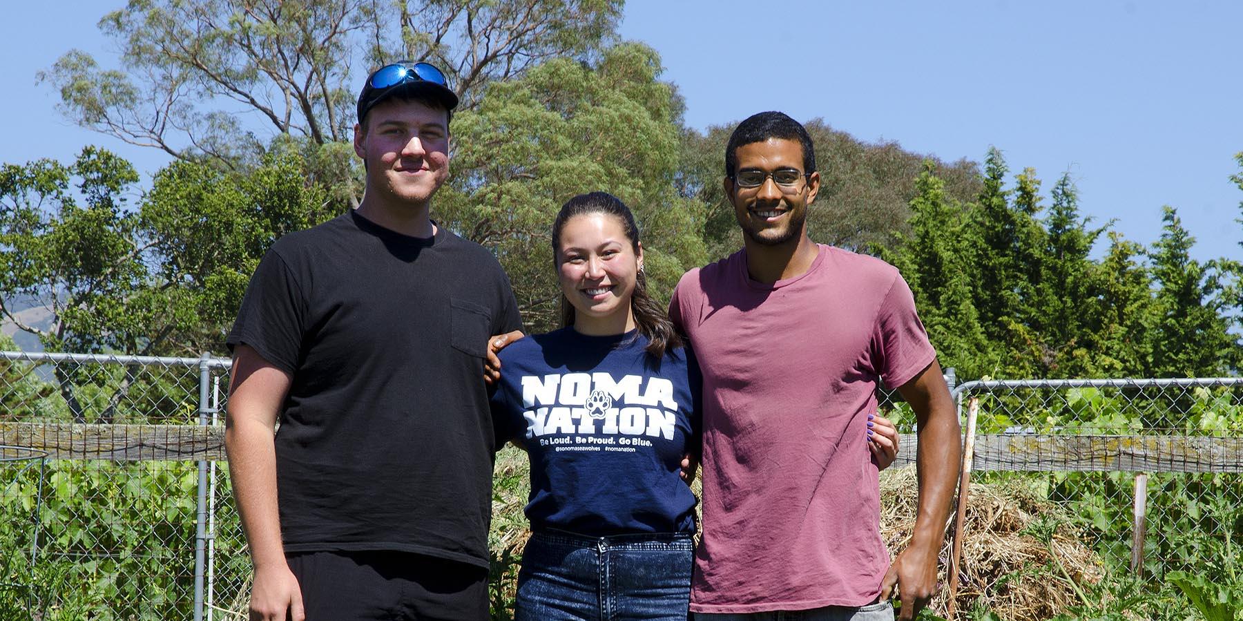 Sonoma Student Growers Cooperative, Left to Right Gabe Sacher, Claudia Sisomphou, Jamal Edwards
