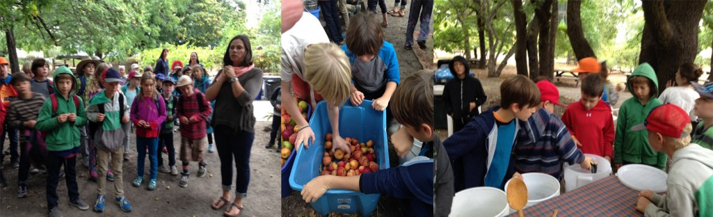 School classes working the Community Apple Press - A Quintessential Slow Food Experience