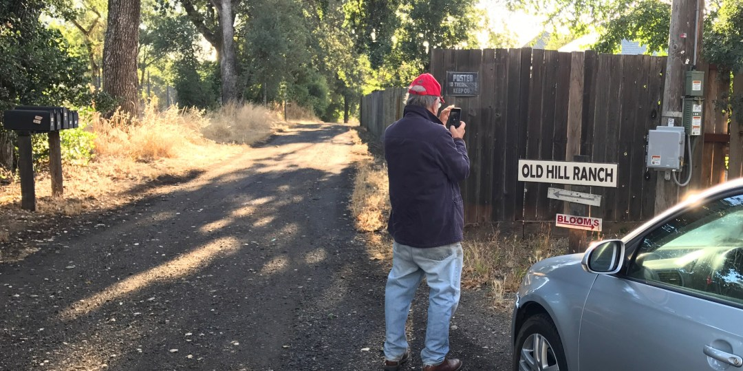 Jonah Raskin at the entrance to Will Bucklin's Old Hill Ranch in Glen Ellen