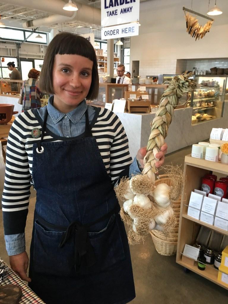 Meg Rottinghaus at SHED with Yael Bernier's Braided Garlic