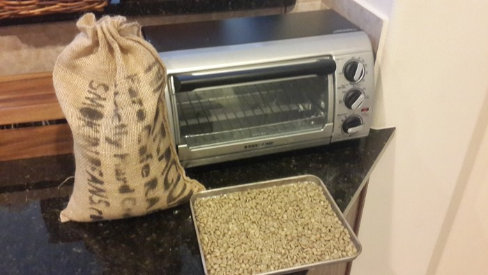 Yes, they come in a burlap bag! Our toaster oven ready to try roasting some beans!