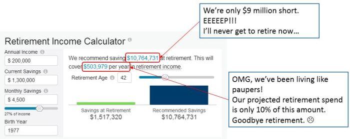 retirement calculator - crazy