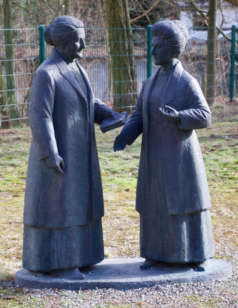 Statue in the memorial's garden showing Clara Zetkin (l) and her friend and fellow communist Rosa Luxemburg, by Berlin sculptor
