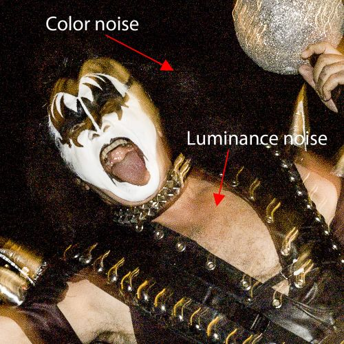 Figure 1. Noise is the degradation of an image by the appearance of unwanted artifacts. This can be due to using a high ISO, severe under-exposure, an overheated sensor, or a combination of all three. Gene Simmons of KISS, 2006. © 2019 Steve Anchell.