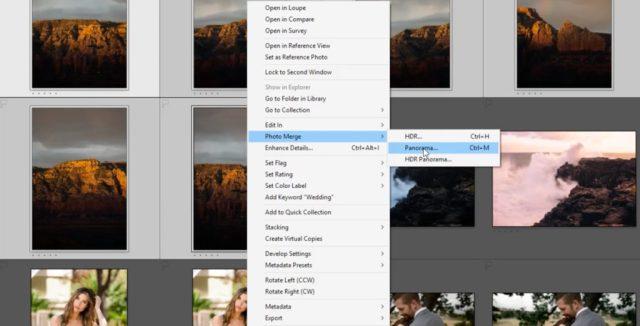 Choose Photo Merge > Panorama in Lightroom