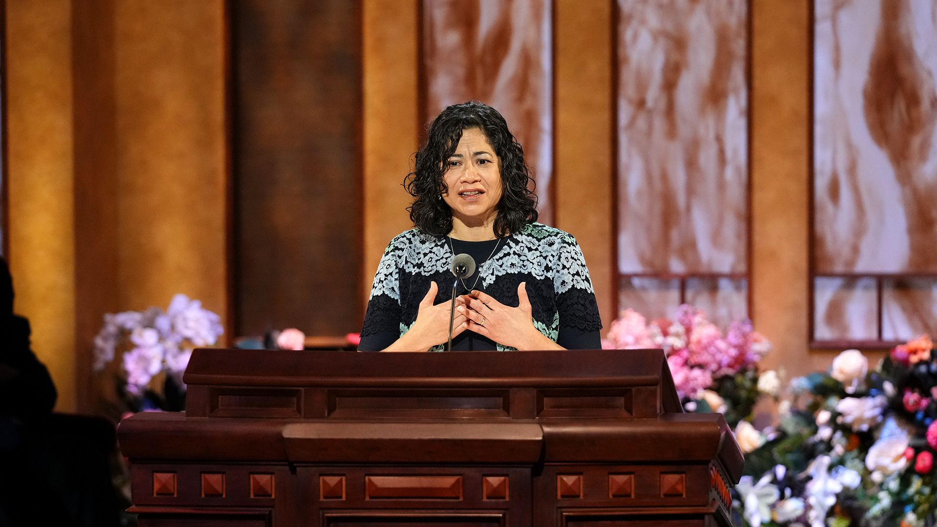 (Photo courtesy of The Church Jesus Christ of Latter-day Saints) Reyna I. Aburto, second counselor in the Relief Society general presidency, speaks at General Conference on Easter Sunday, April 4, 2021.