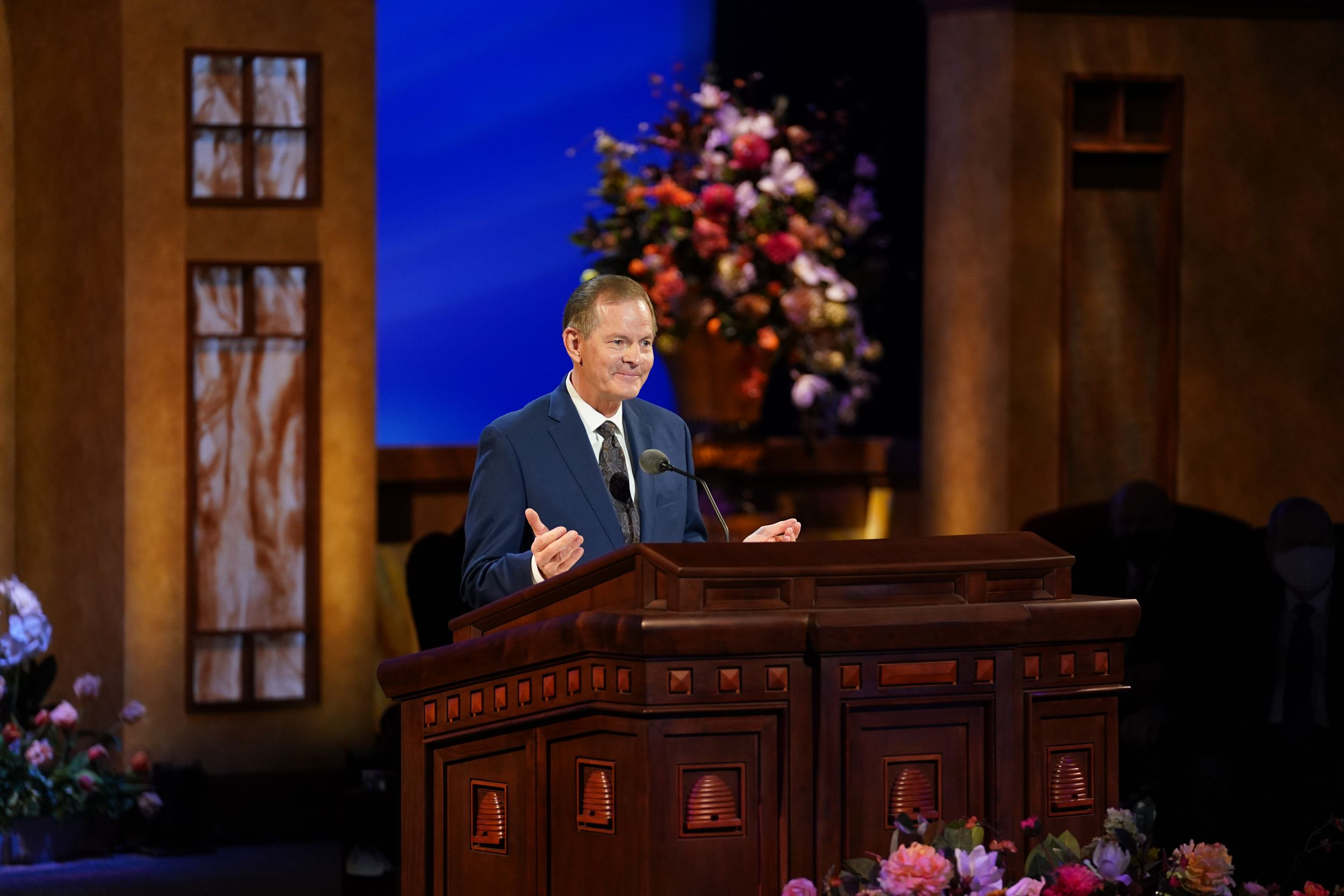 (Photo courtesy of The Church of Jesus Christ of Latter-day Saints) Apostle Gary E. Stevenson speaks at General Conference on Saturday, April 3, 2021.