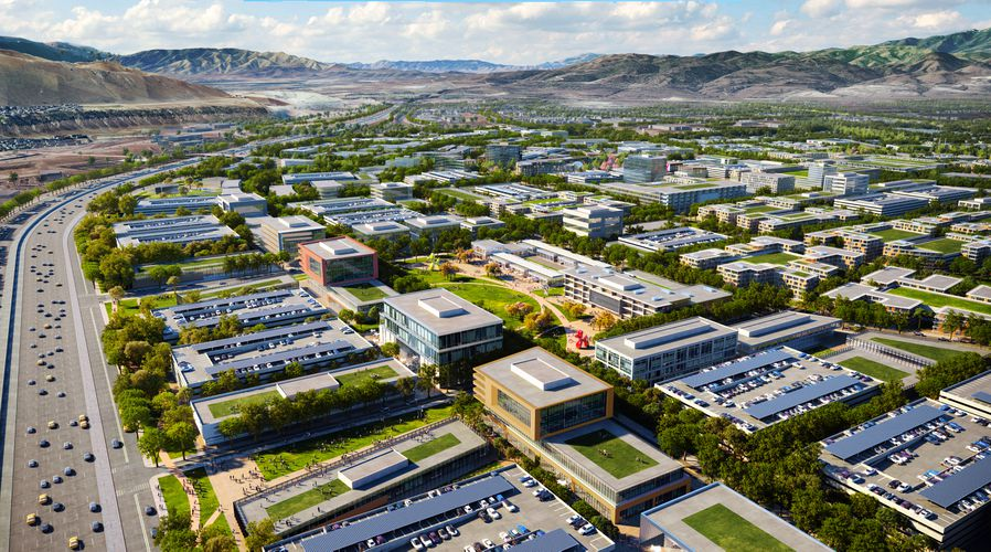(Rendering by Skidmore, Owings & Merrill, via Point of the Mountain State Land Authority) A residential area to be known as Wasatch District in The Point, a Utah-backed housing and economic development project proposed on 600 state-owned acres at Point of the Mountain in Draper. The land is to be vacated by Utah State Prison when that facility is moved to Salt Lake City sometime in 2022.