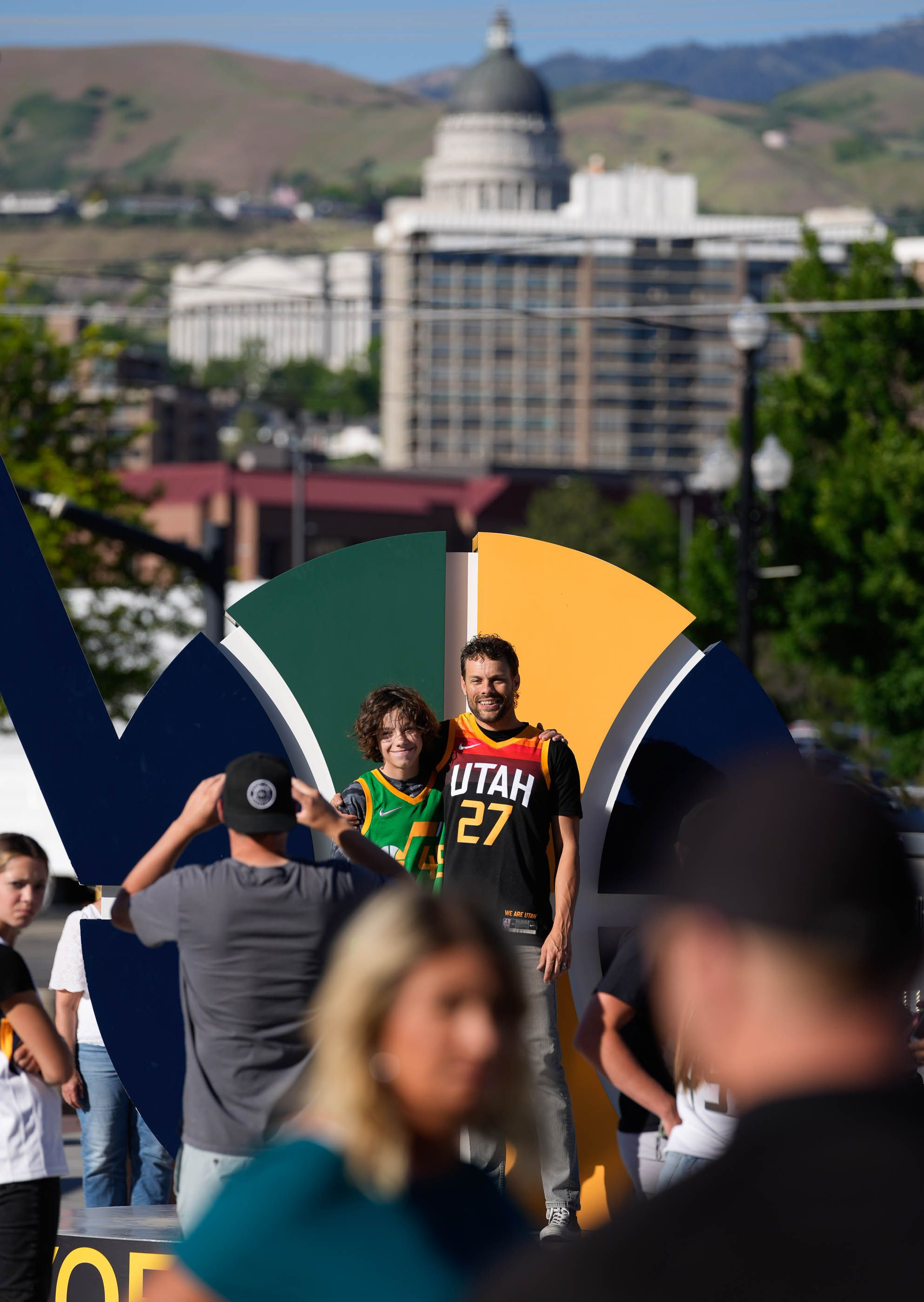 (Francisco Kjolseth | The Salt Lake Tribune) Fans pose for photos before the start of Game 5 against the Memphis Grizzlies of an NBA basketball first-round playoff series Wednesday, June 2, 2021, in Salt Lake City, UT.