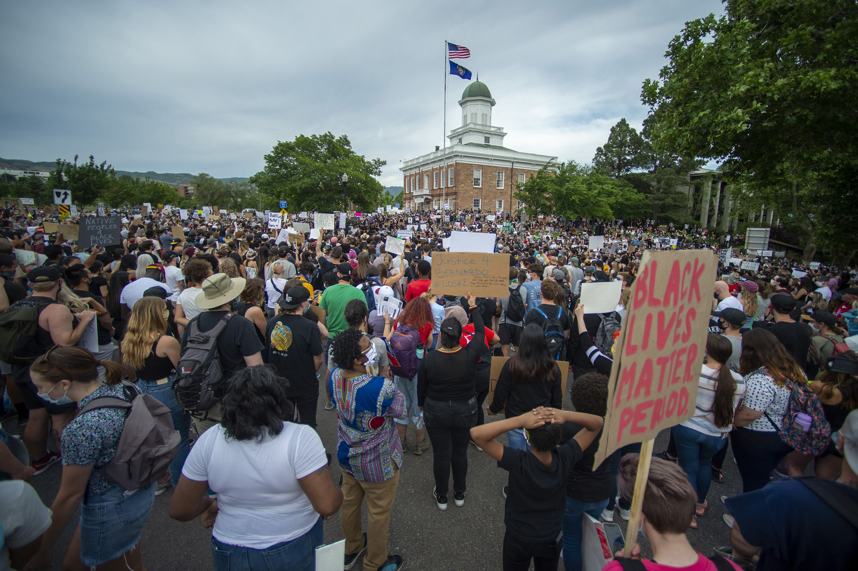 (Rick Egan  |  The Salt Lake Tribune) Protesters gather in front of the State Capitol during a demonstration in Salt Lake City, Tuesday, June 2, 2020.