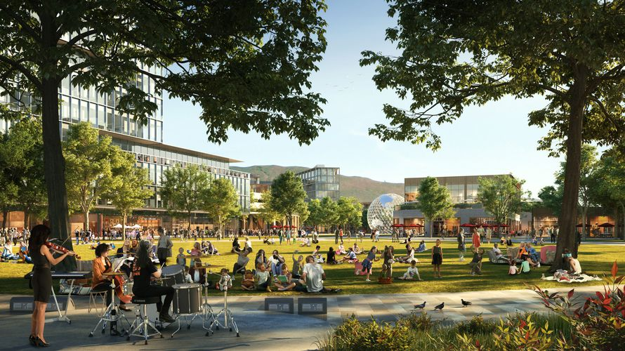 (Rendering by Skidmore, Owings & Merrill, via Point of the Mountain State Land Authority) A central park envisioned at the heart of The Point, a Utah-backed housing and economic development project proposed on 600 state-owned acres at Point of the Mountain in Draper. The land is to be vacated by Utah State Prison when that facility is moved to Salt Lake City sometime in 2022.