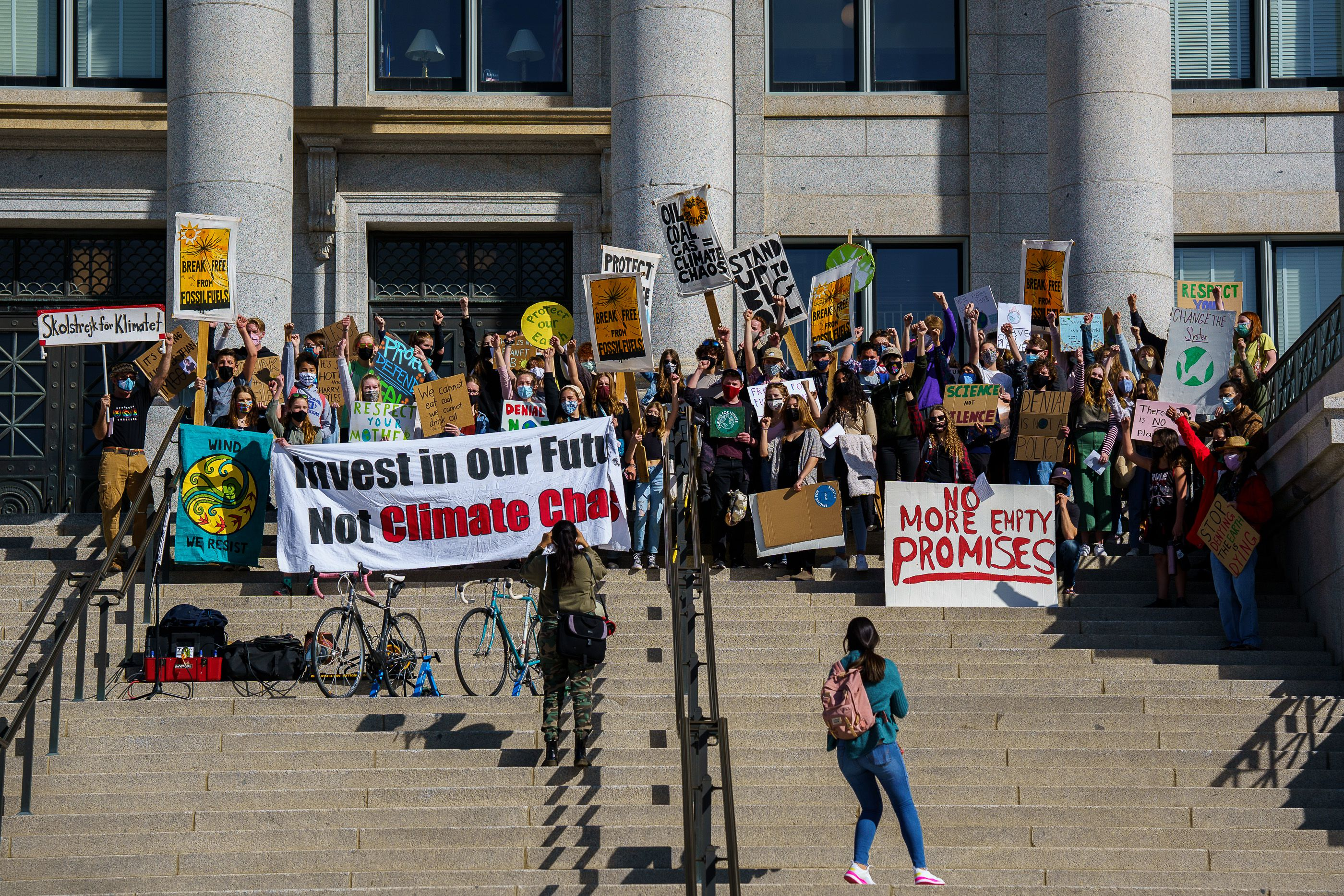 (Trent Nelson     The Salt Lake Tribune) Students protest inaction on the climate crisis at the state Capitol in Salt Lake City on Friday, March 19, 2021.