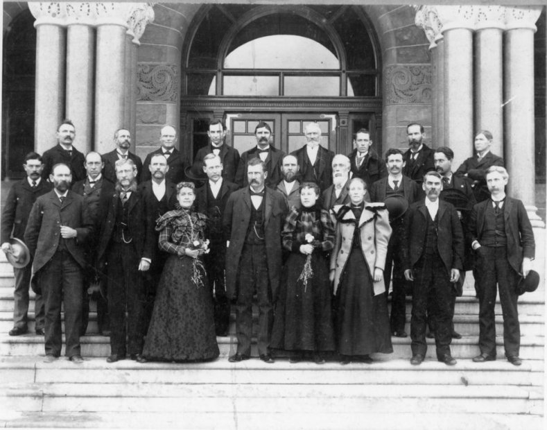 (Photo courtesy of the Utah State Historical Society) Martha Hughes Cannon, the woman in front on the left, was the first female state senator in the United States. She's pictured with the Utah senate and secretaries in 1897.