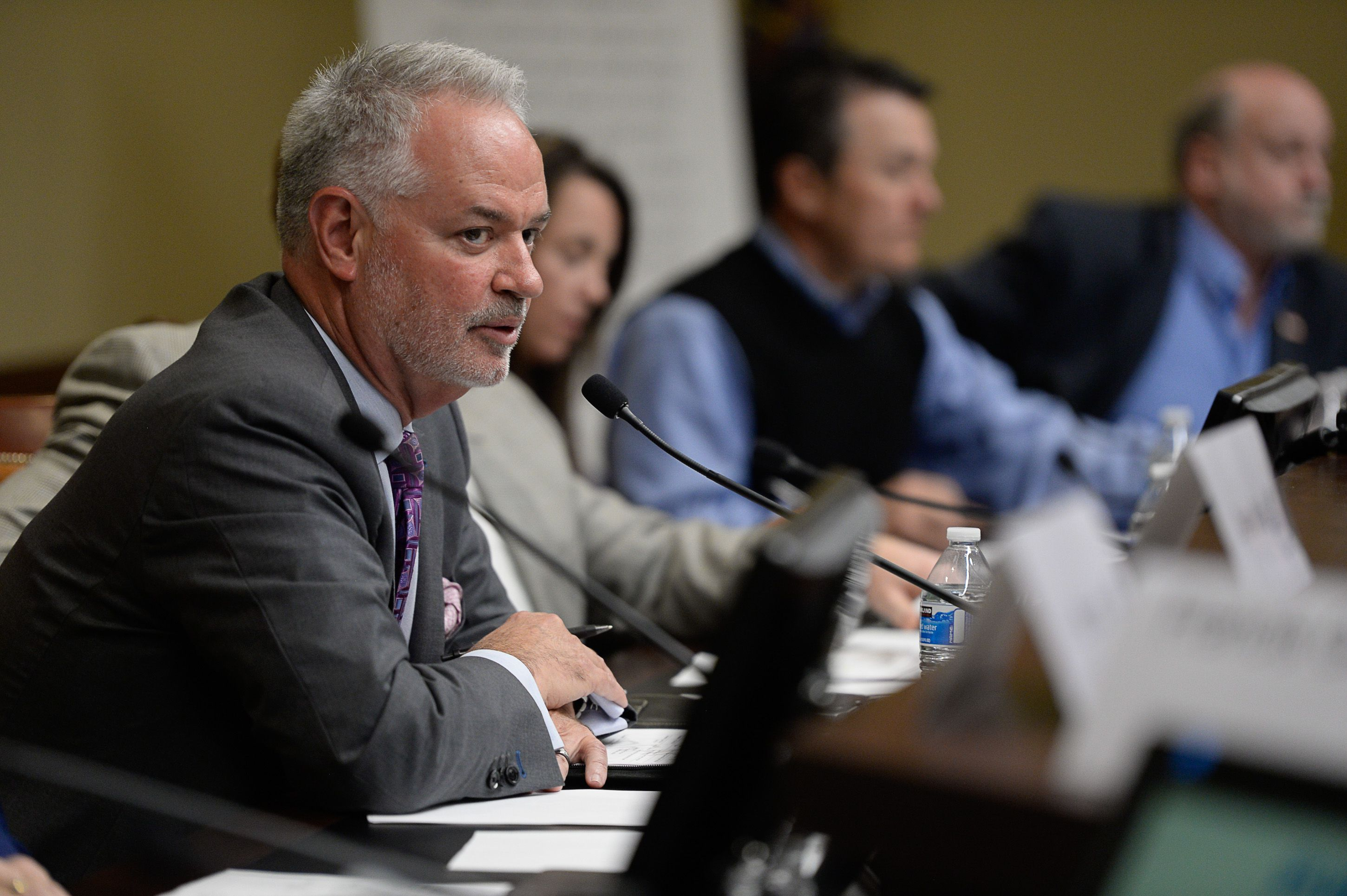 (Francisco Kjolseth  |  The Salt Lake Tribune)  Jack Hedge, Executive Director of the inland Port Authority begins a board meeting at the Utah Capitol where a few protestors disrupted the start of the meeting on Thursday, Oct. 17, 2019.
