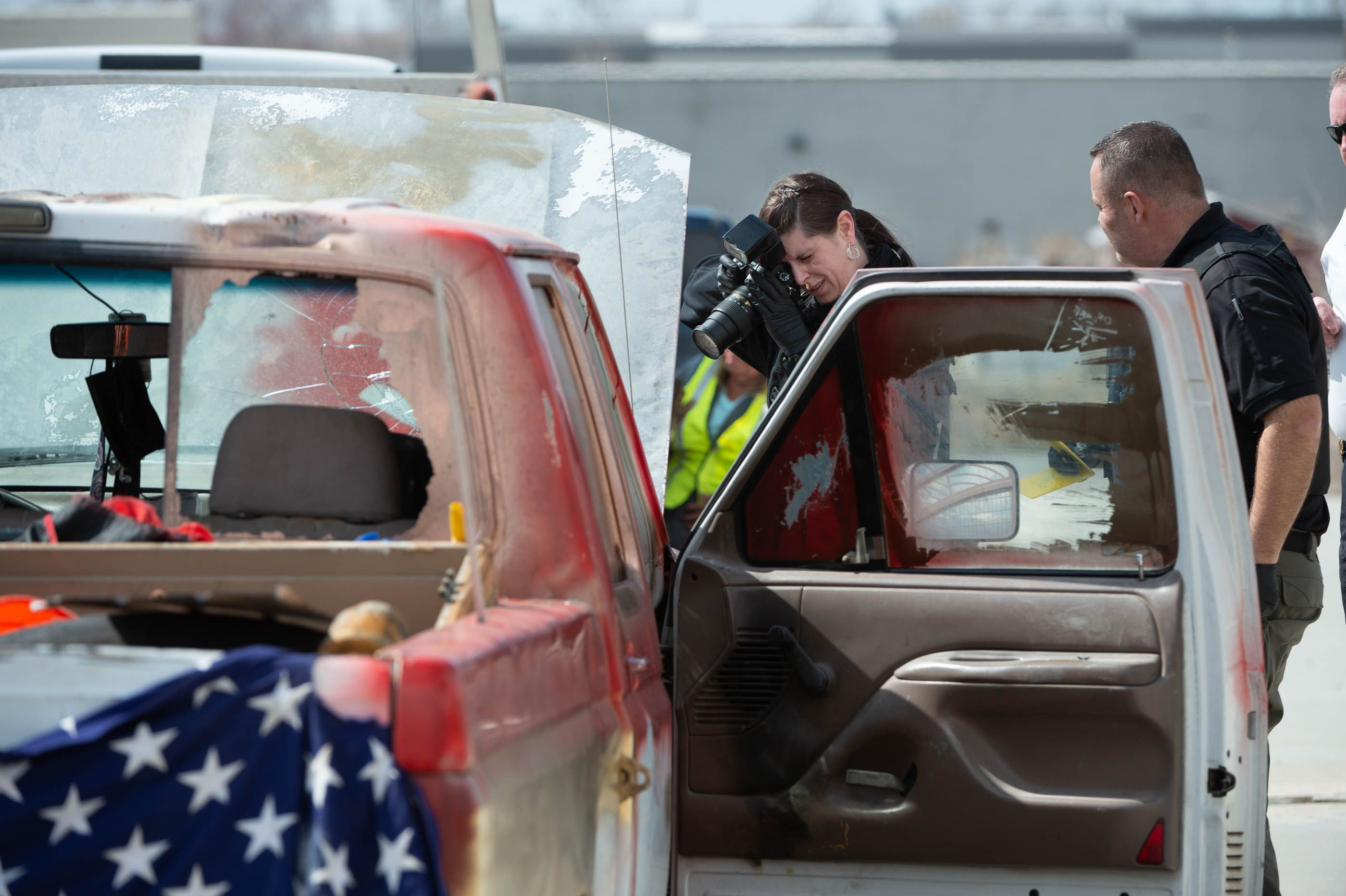 (Francisco Kjolseth  | The Salt Lake Tribune) Numerous police agencies respond to a man driving erratically and claiming to have a gun and a bomb as a police chase ends on Center Street over Legacy Highway on Wednesday, March 17, 2021.