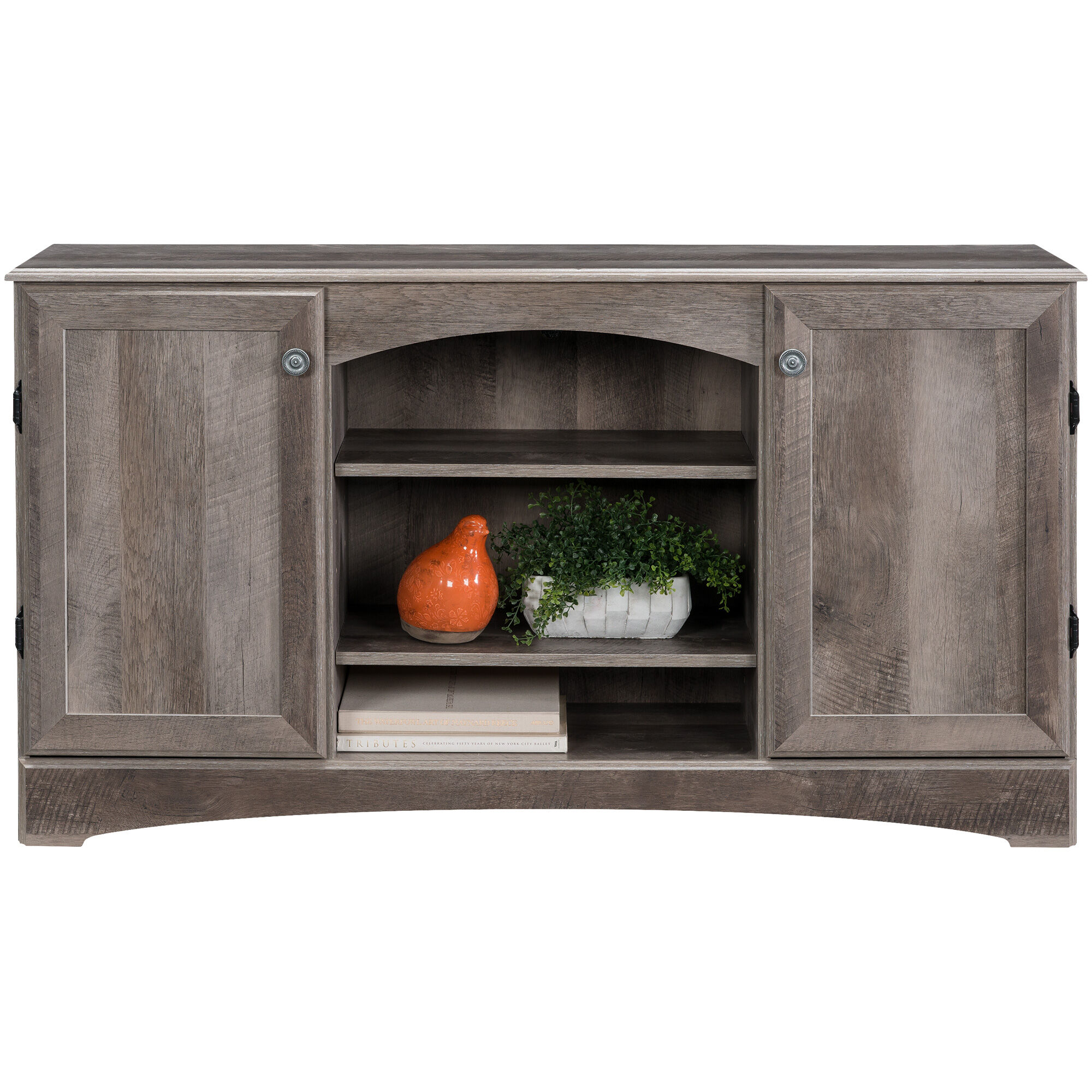 oak furniture land living room sets yellow gray and brown slumberland | hastings console