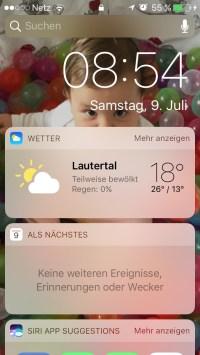 iOS 10 Widget-Zentrale