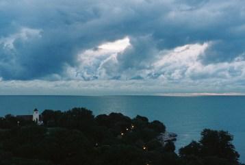 Swirly blue clouds