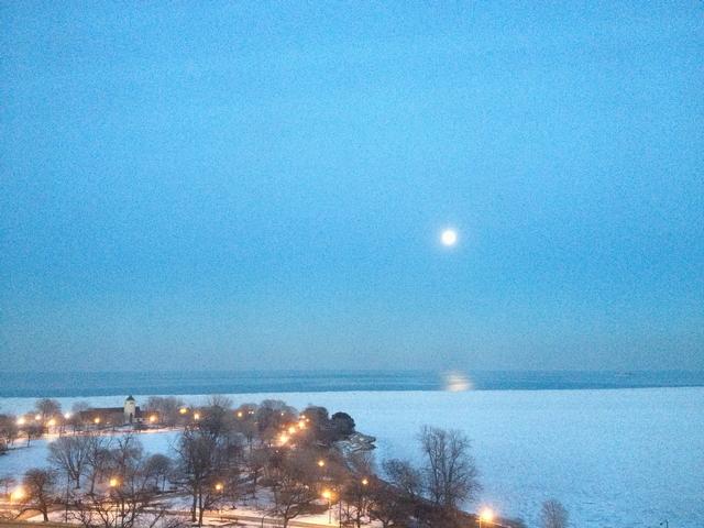 Moon over Lake Michigan