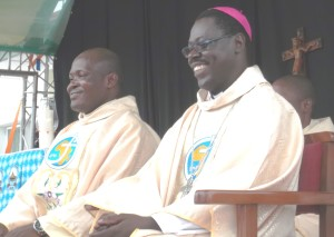 Bishop Nongo-Aziagbia and one of the new SMA priests