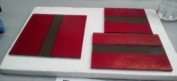 Plates Before Fusing: 6x6 plate on the left, the 6x4 plate on the bottom right, and the 4x4 plate on the top right.
