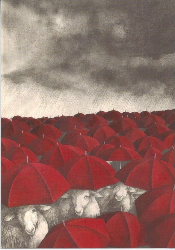 Sheep under umbrella postcard