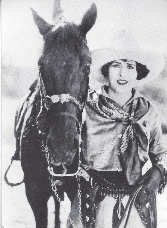 Female Cowgirl with Horse Black and White Postcard