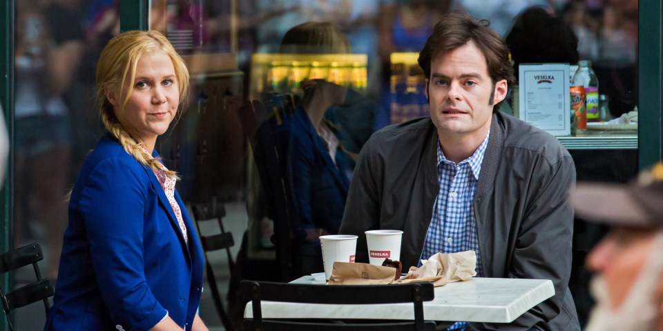 Amy Schumer and Bill Hader filming Trainwreck