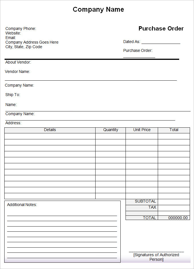 Purchase Order Form  Small Business Free Forms