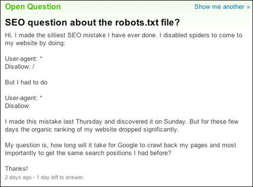 robots.txt question on Yahoo Answers