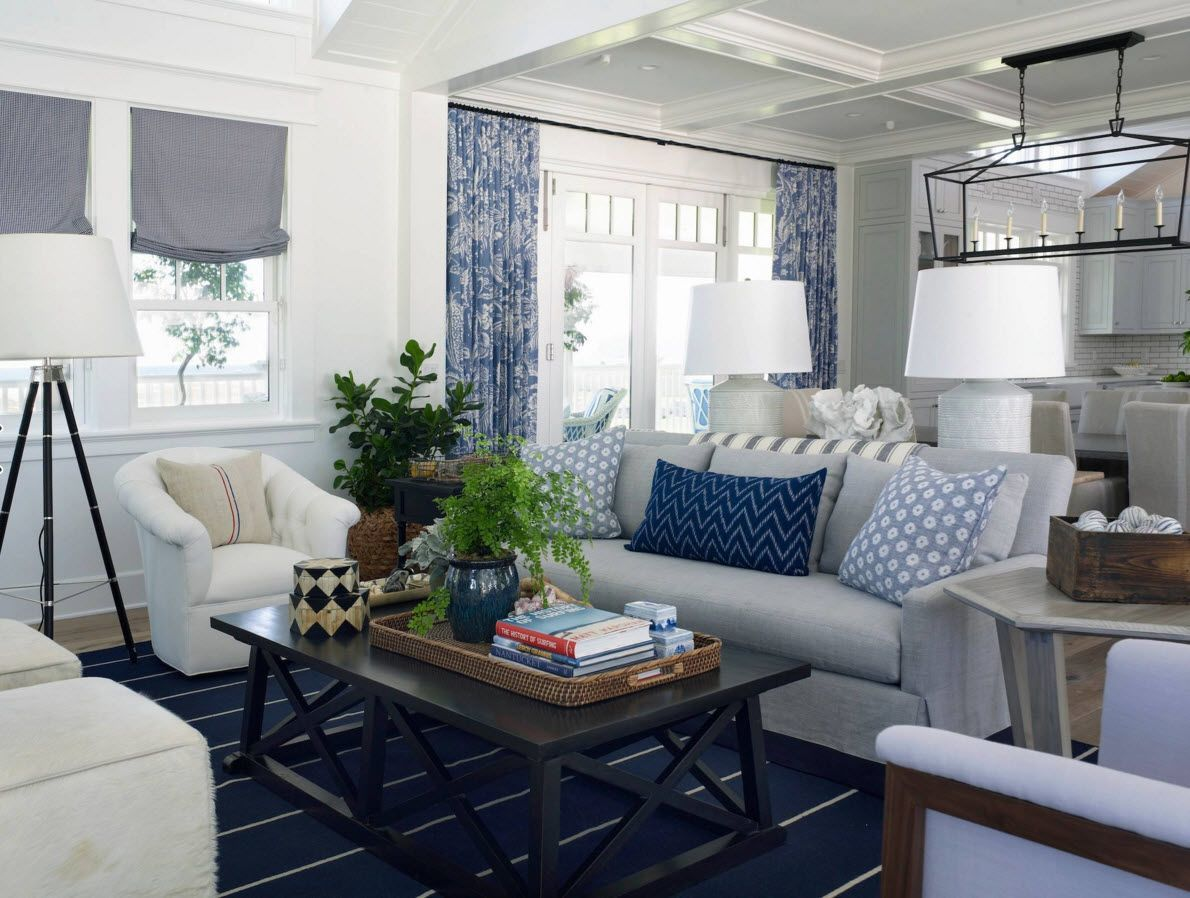 curtain design ideas for small living room contemporary designs curtains 2016 marine style of the interior with logical blue painted