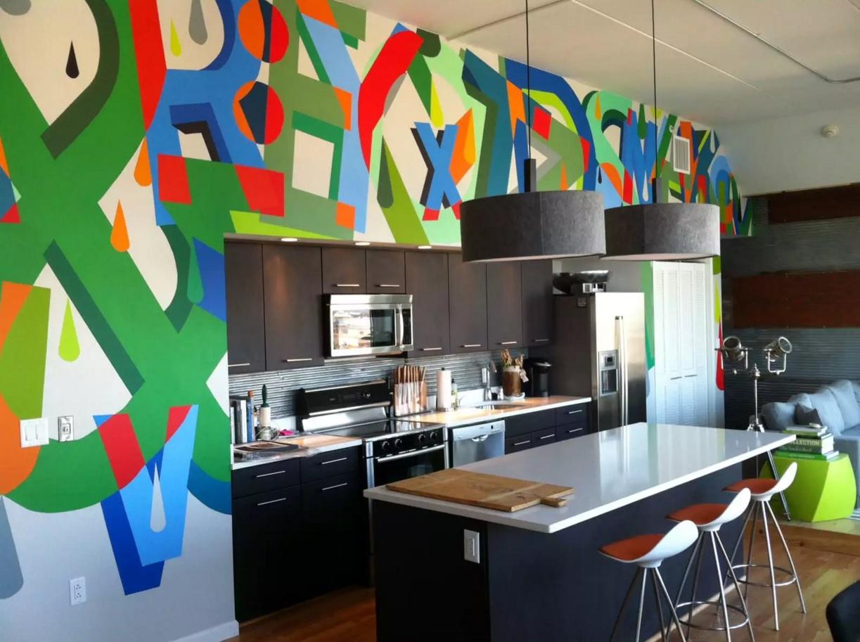 Pop Art İç Tasarım Stili.  Mutfağın dekorasyonuna sıradışı bir bakış