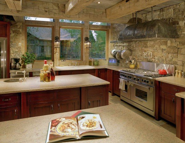 rustic kitchen with stone backsplash Stone Kitchen Interior Decoration Ideas - Small Design Ideas