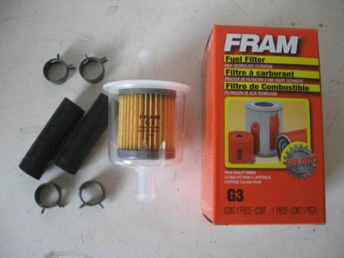Fram G3 Universal 3/8″ Inline Plastic Fuel Filter with Hoses and Clamps |  Small Engine PartsSmall Engine Parts
