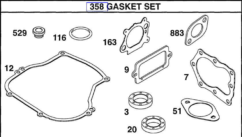 Briggs Stratton Gasket Set Part No. 496659