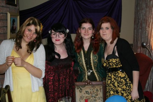 Harry Potter themed birthday bash - me as Luna Lovegood, Mel as Moaning Myrtle, Kylie as Lily (sans freaky baby Harry Potter) and Martha as Ginny