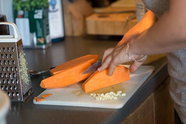 Chopping sweet potato